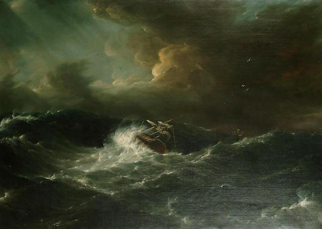 English School, 19th Century A Ship in High Seas, 31 7/8 x 44 in. (81cm x 112 cm.)