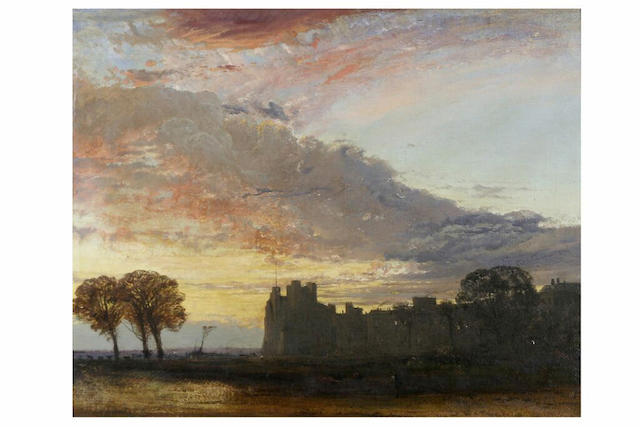 """Frederick Lee Bridell (1831-1863) """"Old Chester"""" - the silhouette of the Castle at sunset, 46 x 56cm."""