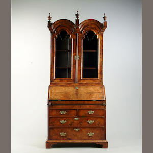 A Queen Anne style walnut  bureau bookcase