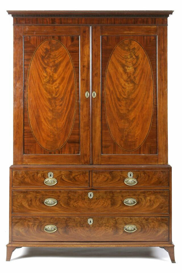A good George III mahogany linen press, by Gillows of Lancaster,