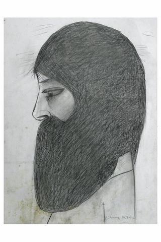 Laurence Stephen Lowry (1887 - 1976) The head of a bearded man, 35 x 26cm, unframed.