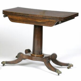 A Regency rosewood and boxwood line inlaid swivel action card table,