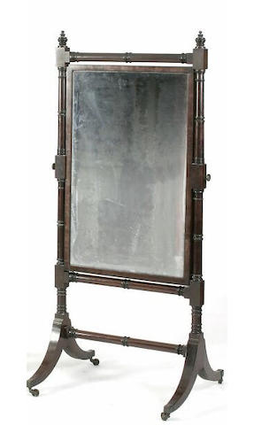 A Regency mahogany cheval mirror,