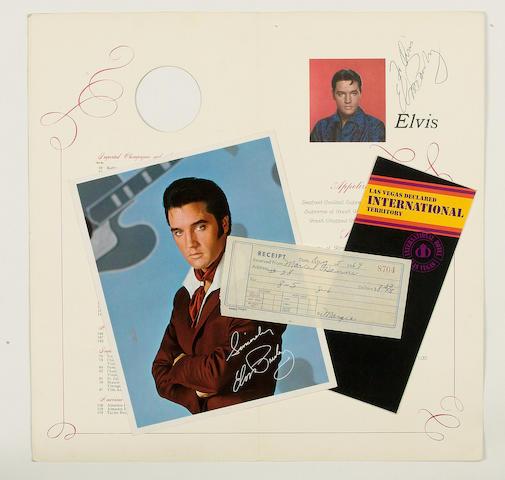 An International Hotel, Las Vegas menu autographed by Elvis Presley, 1969,