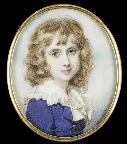 Richard Cosway R.A., Dr. Stephen Lushington (1782-1873), as a boy, wearing blue coat with large silver buttons, cream waistcoat and shirt with wide, falling collar, his hair worn long and curled