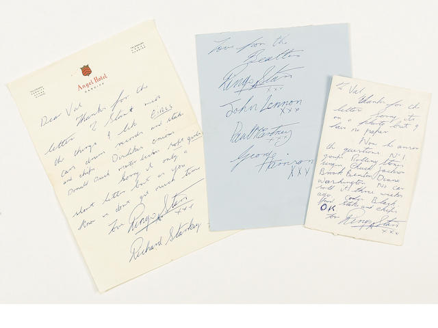 Scarce correspondence from Ringo Starr to a fan, 1963,