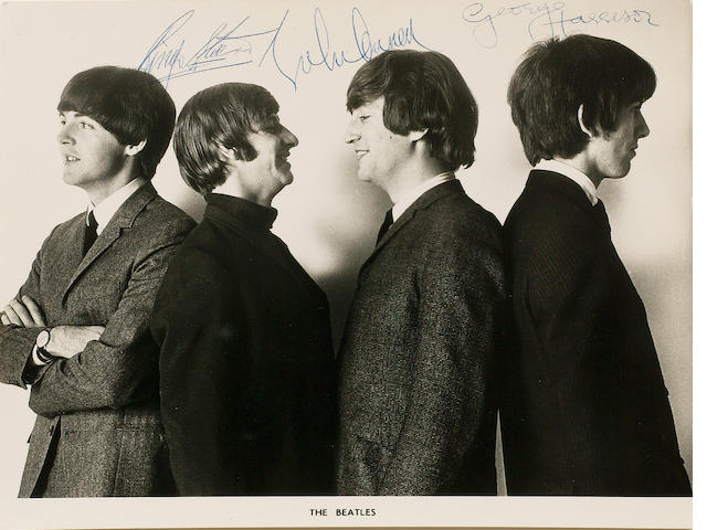 An autographed publicity photograph of the Beatles, 1964/65,