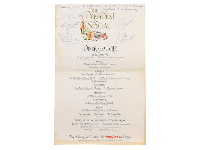 A signed 'Europe Occidentale' Pan Am menu, 1964,