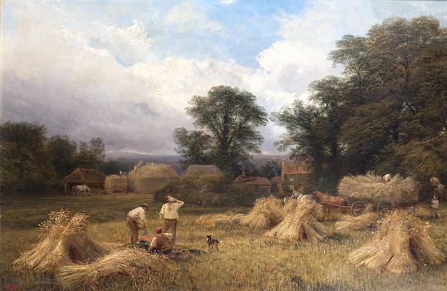 George Vicat Cole, RA (British 1833-1893) Harvest time 50.5 x 76.5 cm. (20 x 30 in.)