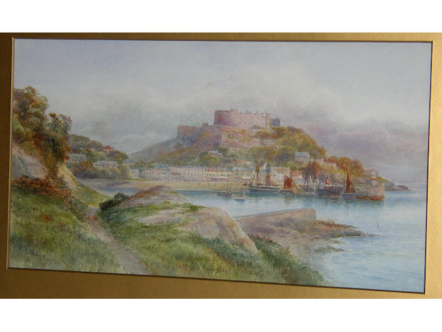 "M** Crosse (late 19th Century) British, ""Hoorn Head, Donegal"", ""Mount Orgueil Castle, Guernsey""both signed 'M. Crosse' and inscribed with titles, watercolour, 24 x 44xm (9½ x 17¼in).  (2)"