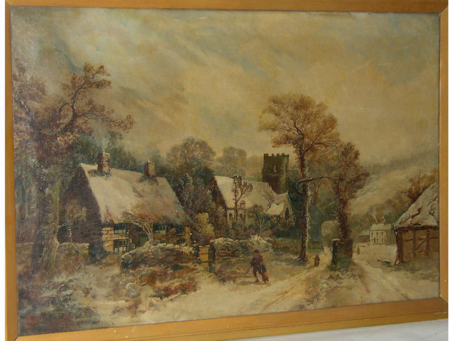 Harry Foster Newey RBSA (Fl. 1882-1927) British, Village scene in winterinscribed on label verso 'Painted by Newey', oil on canvas, 51 x 76cm (20 x 30in).