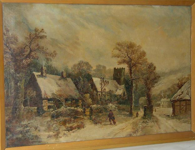 Harry Foster Newey RBSA (Fl. 1882-1927) British, Village scene in winterinscribed on label verso 'Painted by Newey', oil on canvas, 51 x 76cm (20 x 30in).