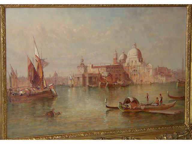 "Alfred Pollentine (fl.1861-1880) British ""Santa Maria della Salute""signed and dated 'A. Pollentine '90', inscribed verso, oil on canvas, 41 x 60cm (16 x 23½in"