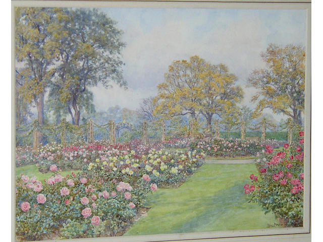 Beatrice Parsons (1870-1955) British Queen Mary's rose garden - Octobersigned 'Beatrice Parsons', titled on label verso, watercolour, 22 x 30cm (8¾ x 11¾in)