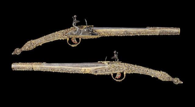 A Fine Pair Of Balkan 20-Bore Flintlock Holster Pistols With Silver-Gilt Stocks