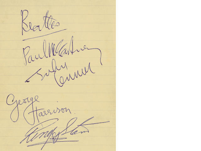 A set of Beatles autographs, 1963/64,