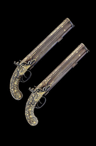 An Exceptional Pair Of 16-Bore Over-And-Under Gold-Inlaid Flintlock Pistols Made For The Maharaja Of
