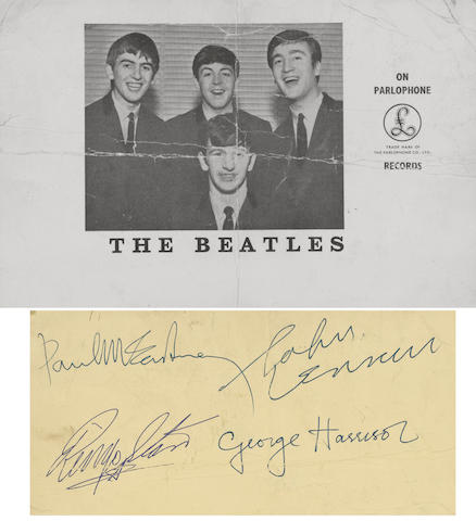 An autographed publicity photograph of the Beatles, 1963,