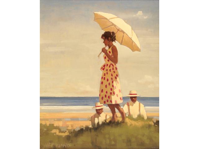 Jack Vettriano OBE (b1951) Girl and parasol 51 x 41cm (20 x 16ins)