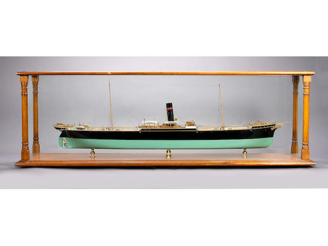 A Builder's Model of a 19th Century Steamship 163 x 34 x51cm.(64 x 13.5 x 20in.)