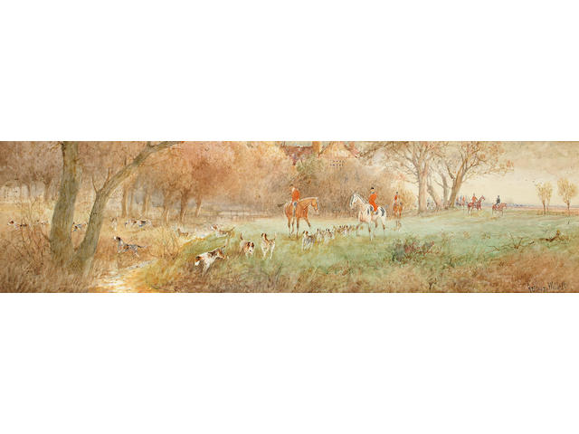 Arthur Willett (British, c.1857-1918) Hounds at check, Ditching Brooks, Sussex, 12 x 45 cm, unframed.
