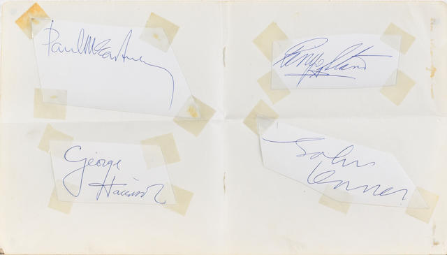 A set of Beatles autographs, circa 1963,