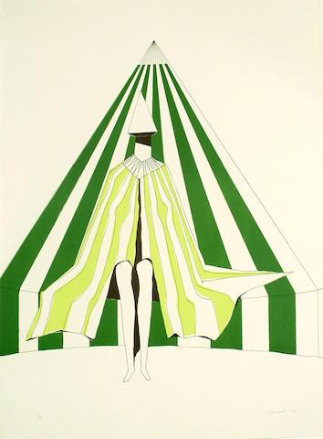 Lynn Chadwick (British, 1914-2003) Green Pyramid 56 x 76cm.