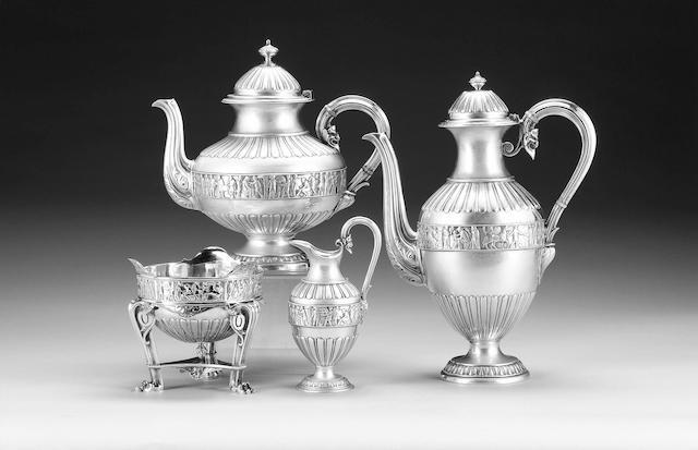A Victorian silver four piece tea and coffee service, by Elkington & Co., Birmingham 1896,