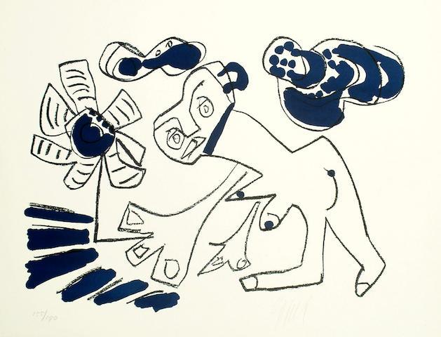 Karel Appel (Dutch, b.1921) Dog with flower unframed 50 x 65cm.