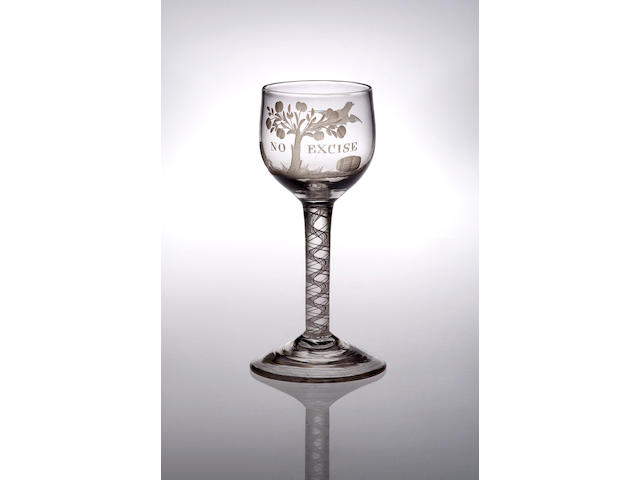 An opaque twist cider glass, circa 1760,