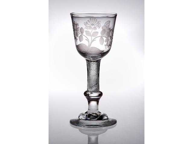 A composite-stemed goblet, circa 1750,