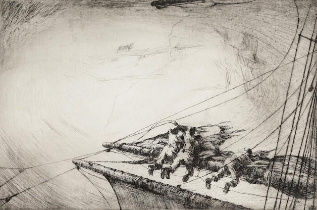 Arthur Briscoe Typhoon-The burst topsail Etching, 1924, on laid, signed and numbered 53/75 in black ink; tears into the margin and along the plate mark, faint time staining, unexamined out of the frame, 200mm x 300mm (7 7/8in x 11 3/4in)(PL)