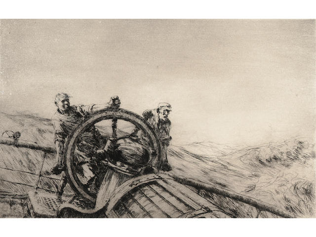 Arthur Briscoe The Wheel Etching, 1927, on laid, with margins, signed and numbered 44/75 in black ink; faint time staining, unexamined out of the frame, 225mm x 335mm (8 3/4in x 13 1/4in)(PL)