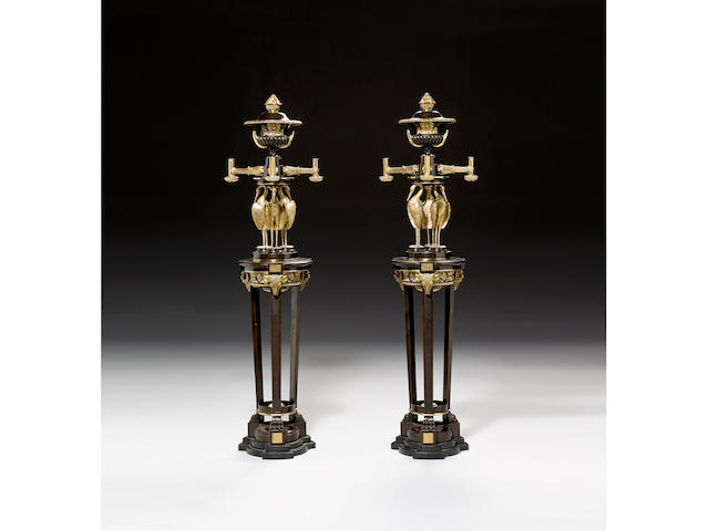 A pair of gilt and lacquered bronze eight light Chandeliers,