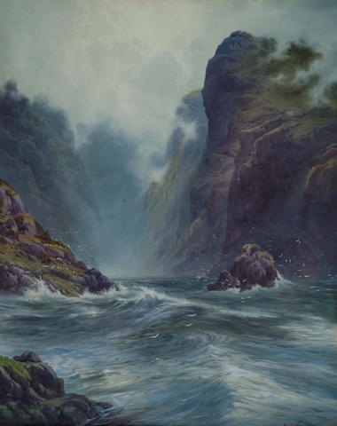 Edward H Thompson (1866-1949) 'Swelling seas up a rocky inlet' 50 x 40cm (19 1/2 x 15 3/4in)