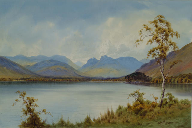 Edward H Thompson (1866-1949) 'View of the Langdale Pikes from across Lake Windermere' 30.5 x 46cm (12 x 16in)
