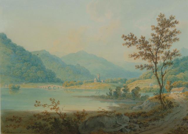 Hugh William 'Grecian' Williams (1773-1829) 'Kenmore, Loch Tay' and 'Bridge of Douglas near Inverary' 23 x 31cm (9 x 12 1/4in)