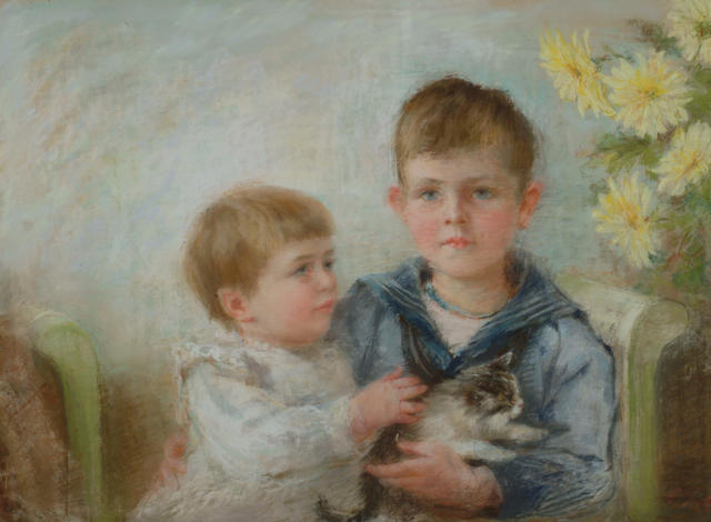 Mrs Anna Massey Lea Merritt (1844-1930) 'Boy and a child with a kitten' 53 x 72cm (21 x 28 1/4in)