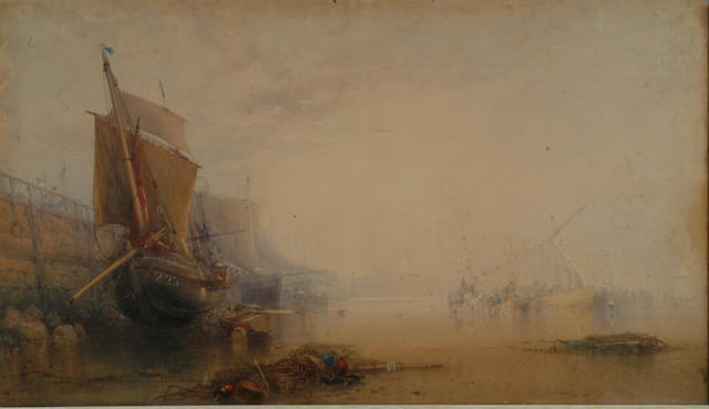 William Roxby Beverley (1811-1889) 'Fishing vessels at a quay, viewed from the beach at low tide' 76 x133cm (30 x 52 1/2in)