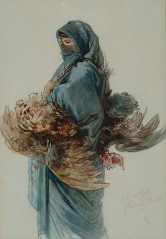 Guido Bach (1828-1905 German) 'An Egyptian woman carrying a brace of chickens' 54 x 37cm (21 1/4 x 1