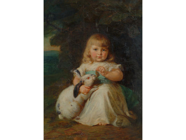 Mary Lemon Waller (née Fowler) (1851-1931) 'A little girl with a pet rabbit' 94 x 66cm (37 x 26in)