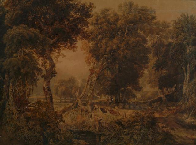 William Havell (1782-1857) 'Shepherds Reposing' 76 x 1-2cm (30 x 40in)