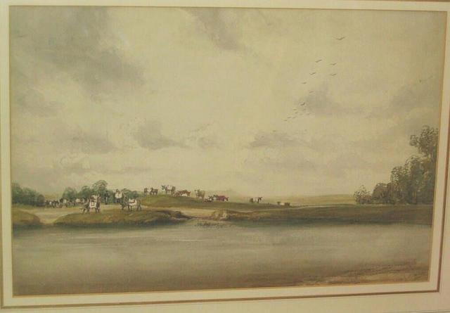 Emily Nicholson 'Donkeys on Hampstead Heath', 35.5 x 53.5cm.