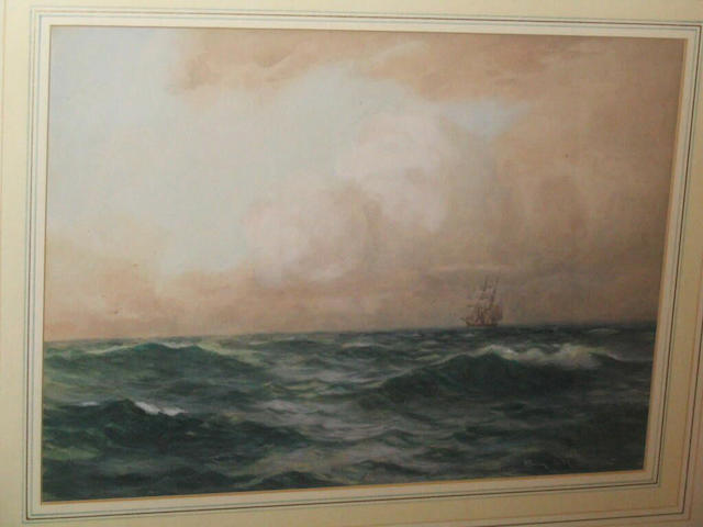 Samuel John Milton Brown Two-masted sailing vessel at sea, 24.5 x 34cm.