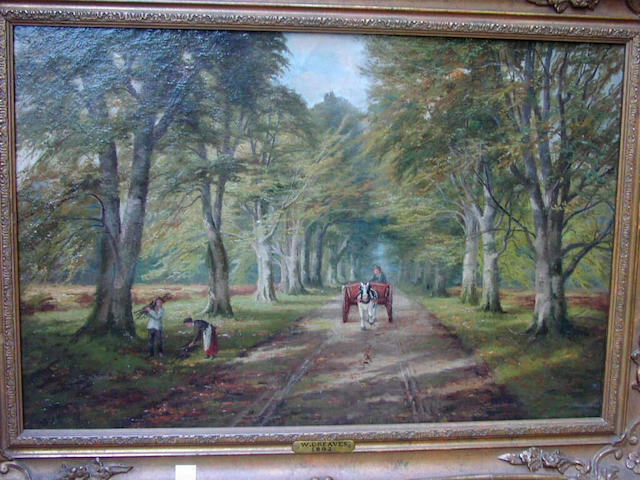William Greaves A country lane, with figures gathering firewood, and horse and cart, 41 x 61cm.