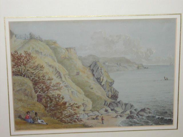 """Henry Gastineau (1791-1876) """"Looking towards Ventnor"""", Isle of Wight, with figures by the shore, 17 x 25cm."""