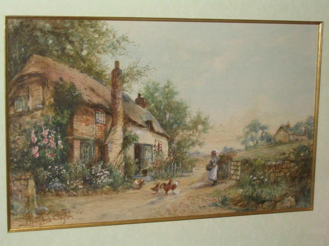 James Hughes Clayton Woman feeding chickens before a country cottage, 27 x 44cm.