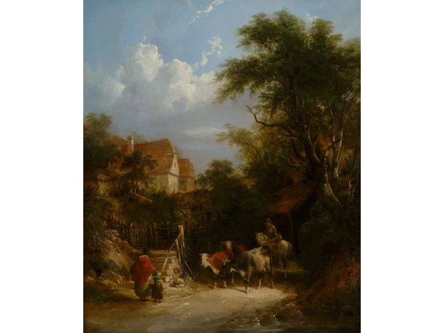 William Shayer Snr (1787-1879) 'Returning from market' 60 x 50cm (23 1/2 x 19 3/4in)