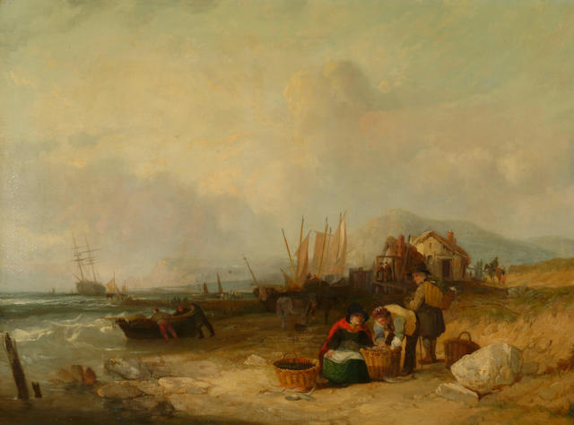 William Shayer Snr (1787-1879) 'Sorting the catch on the beach' 75 x 100cm (29 1/2 x 39 1/2in)