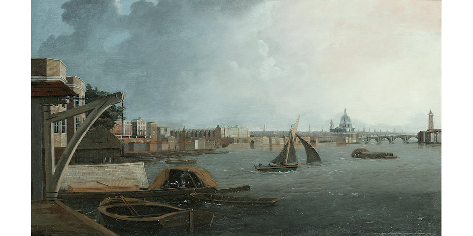 Daniel Turner (British, exh. 1782-1801) A view down the Thames looking towards St. Paul's Cathedral, with Somerset House dominating the northern shoreline, 17 1/4 x 28 5/8in. (43.8 x 72.7cm.)